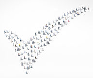 People Diversity Crowd Community Check Mark Approved Concept.  Stock Photo