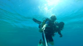 People diving under the warm cyan water. stock footage