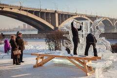 People do ice sculptures Royalty Free Stock Photo