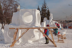 People do snow sculptures Royalty Free Stock Images