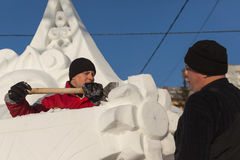 People do snow sculptures Stock Image
