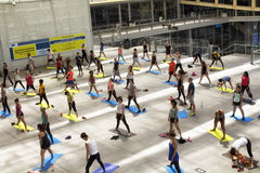 People do yoga at Les Halles Royalty Free Stock Images