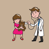 People doctor girl and teddy bear Royalty Free Stock Photo