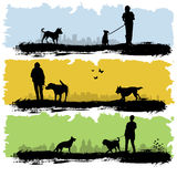 People with dog. Silhouette vector Royalty Free Stock Photography
