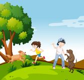 People with dogs in park. Illustration vector illustration