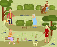 People with dogs. People with pets walking in the park. Different breeds of dogs with owners. Vector illustration eps 10 Stock Photos