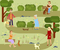 People with dogs. People with pets walking in the park. Different breeds of dogs with owners. Vector illustration eps 10 Royalty Free Stock Images
