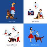 People With Dogs Set Stock Photography