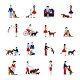 People With Dogs Set Stock Images