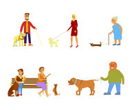 People with dogs set. People walking with different breeds of dogs set. Isolated on white background vector illustration eps 10 Royalty Free Stock Photos