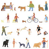 People with dogs set. People walking with different breeds of dogs set. Isolated on white background vector illustration eps 10 Stock Image