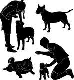 People and dogs Stock Photo