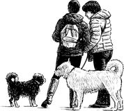 People and dogs. Vector sketch of the people with the dogs on a walk royalty free illustration