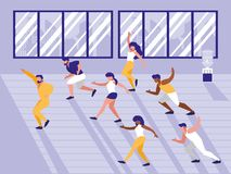 People doing aerobics avatar character. Vector illustration design vector illustration