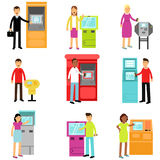 People doing ATM machine money deposit or withdrawal set, man and woman using ATM terminal colorful  Illustrations Royalty Free Stock Photography