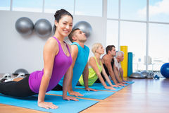 People doing the cobra pose in fitness studio Stock Image