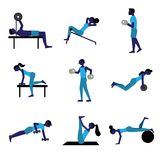 People doing different physical exercises-GYM stock illustration