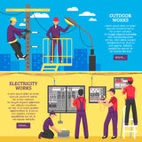 People Doing Electrical Works Horizontal Banners stock illustration