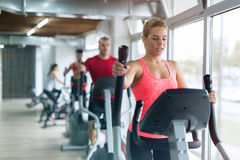 People doing on elliptical trainer in gym. Gropu of people doing on elliptical trainer in gym Royalty Free Stock Photos
