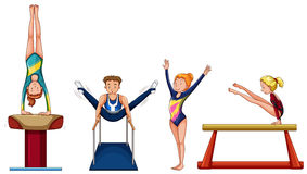 People doing gymnastics on different equipment. Illustration Royalty Free Stock Photos