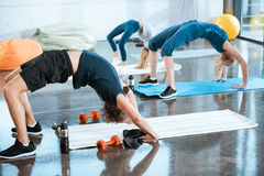 People doing gymnastics, performing Bridge pose Stock Photo