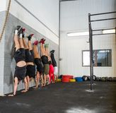 People Doing Handstands At Cross Training Box Royalty Free Stock Photos
