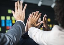 People Doing A High Five royalty free stock photos