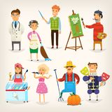 People doing jobs. Set of cartoon characters of different professions. Variety of people doing their jobs. Isolated vector illustrations Stock Photos