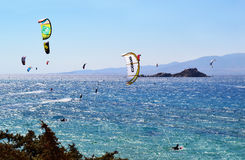 People doing kitesurf at Naxos island Cyclades Greece stock photo