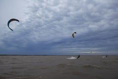 People doing kitesurfing royalty free stock photos