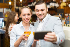 People doing selfie at cafe Stock Photography