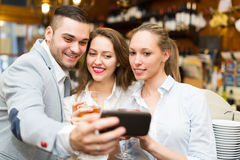 People doing selfie at cafe Royalty Free Stock Photos