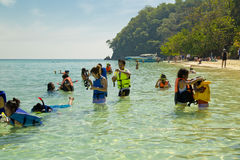 People doing snorkling Stock Images
