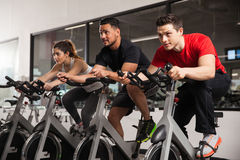 People doing some spinning at a gym Royalty Free Stock Photography