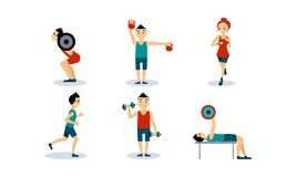 People doing sport exercises set, men and women training with barbell, dumbbell, running, doing fitness and yoga. Exercises, active healthy lifestyle concept stock illustration