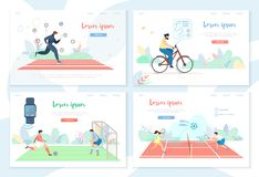 People Doing Sports Activity with Smart Gadgets vector illustration