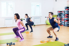 People doing squats with barbells on shoulders exercising at fitness club. stock photos