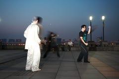 People doing taichi Stock Photos
