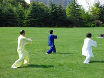 People doing tai chi in a park. People doing taichi in century park Shanghai China on a sunny day Stock Images