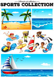 People doing water sports and beach scences Royalty Free Stock Photos