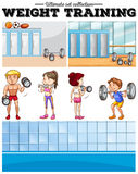 People doing weight training and locker room Royalty Free Stock Images