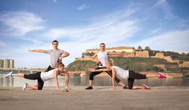 People doing workout outdoor Royalty Free Stock Image