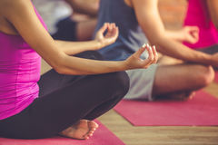 People doing yoga. Cropped image of beautiful sports people sitting in lotus position while doing yoga in modern fitness hall Royalty Free Stock Images