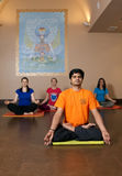 People doing yoga in the hall Royalty Free Stock Photography