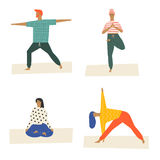 People doing yoga and meditation poster. class illustration in vector. Healthy life style. Royalty Free Stock Photography