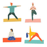 People doing yoga and meditation poster. class illustration in vector. Healthy life style. Royalty Free Stock Photo