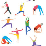People doing yoga seamless pattern Royalty Free Stock Photography