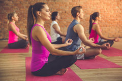 People doing yoga. Side view of beautiful sports people sitting in lotus position while doing yoga in modern fitness hall Stock Photo