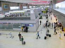People at Don Muang airport, Thailand. Bangkok, Thailand. People at the airport Don Muang. Passengers at check-in area. Airport has two level royalty free stock photo