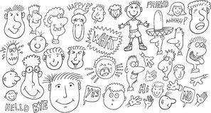 People Doodle Set Stock Photography
